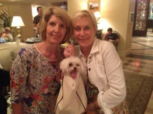 Ann Tuennerman and Melanie with Sazerac, our Maltese
