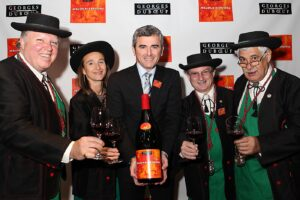 Jacques Capsouto (far right) with fellow members of the Compagnons du Beaujolais with Franck Duboeuf, Les Vins George Duboeuf