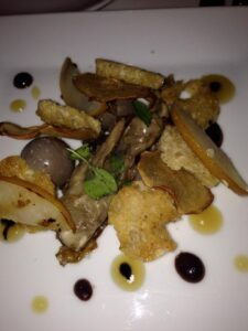 Portobello mousse with Asian pearsand truffle toast at Dirt Candy