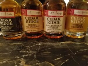 Tasting through the whiskies made by Cedar Ridge. Smooth as corn silk!