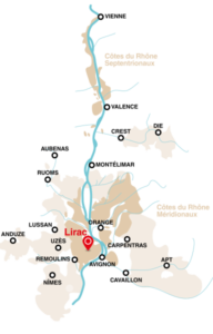 Map showing Lirac