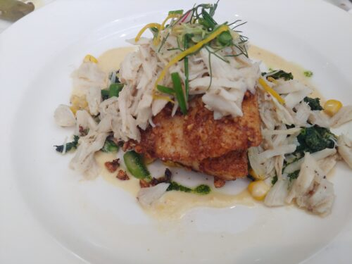 Pecan crusted Drum with Crabmeat, Kale and Corn